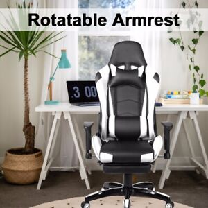 Office Gaming Chair Racing Recliner Bucket Seat Computer Desk Footrest High Us