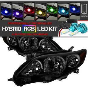 bluetooth Rgb Led For 11 13 Toyota Corolla Black Smoked Replacement Headlight