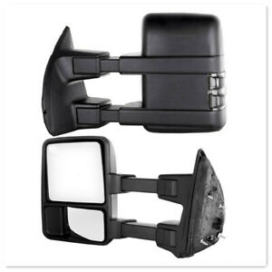 Tow Mirror For 99 07 Ford F250 F350 Super Duty Power Heated Smoked Turn Signal