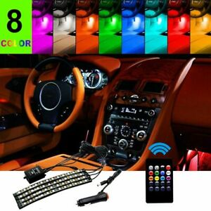 48 Led 4pcs Car Interior Atmosphere Neon Lights Strip Music Control Ir Remote