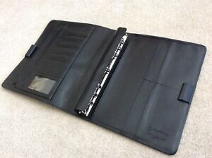 Monarch Blk Full Grain Leather Open Franklin Covey Planner Binder Removable Ring