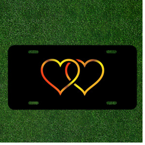 Custom Personalized License Plate Car Tag With Heart Gold Black Background