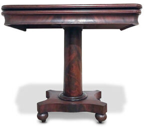 C 1840 American Empire Mahogany Game Table Console Attributed To John Hall