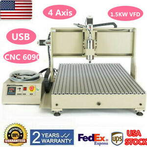 6090 Usb 4axis Cnc Router Engraver Engraving Drilling Milling Machine 1500w Usa