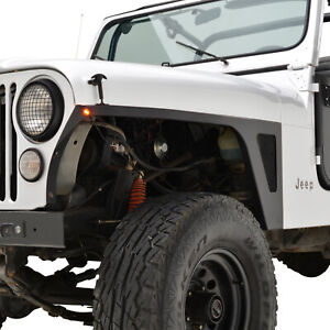 Fits 76 86 Jeep Wrangler Cj Armor Front Fender With Led Eagle Lights Steel