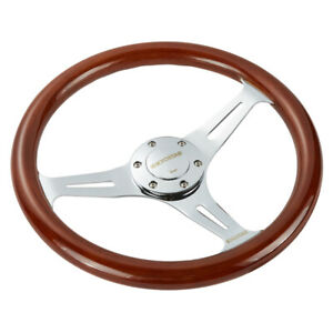 14 Universal Wooden Steering Wheel Wood Grain Trim Silver Chrome Spoke 350mm