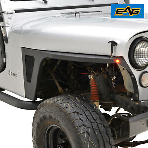 Eag Black Armor Front Fender With Led Eagle Lights Fit 76 86 Jeep Wrangler Cj