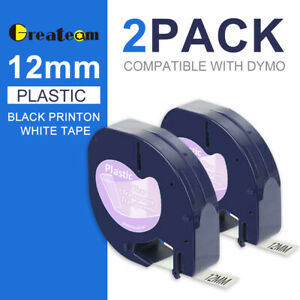 2pk 16952 12267 Replace Dymo Letratag Refills Clear Transparent Label Tape 12mm