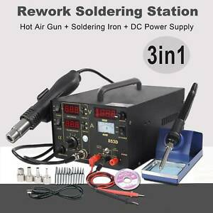 3in1 853d Smd Soldering Iron Hot Air Rework Station Hot Air Gun Digital Display