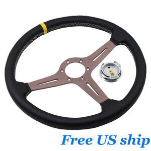 Steering Wheel Deep Corn Perforated Leather 15 Inch Classic Titanium Chrome New