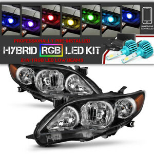 rgb Led Low Beam Black factory Style Headlights For 2011 2013 Toyota Corolla