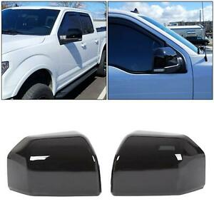 For 15 20 F150 Mirror Cover Skull Cap Replacement Painted Glossy Black