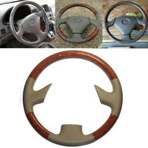Brown Wood Tan Leather Steering Wheel Cover For 99 03 Lexus Rx300 Gs300 400 430