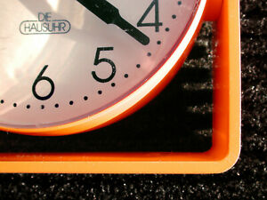 70s Vintage Desk Or Wall Clock Orange Plastic Adjustable German Flower Power Era