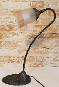 Vintage Art Deco Cast Iron Gooseneck Lotus Table Lamp With Reverse Painted Shade