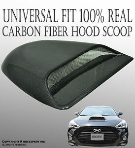Jdm 100 Real Carbon Fiber Hood Scoop Vent Cover Universal Fit High Quality F104