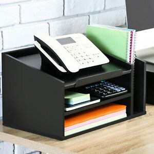 Fitueyes Wood Office Supply Desktop Organizer With Letter Tray Telephone Stand