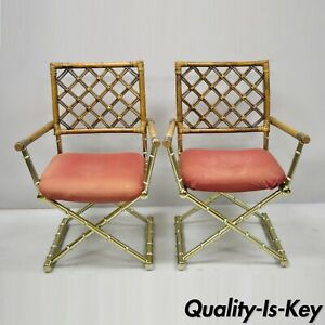 Pair Of Vintage Daystrom Brass Faux Bamboo Lattice Rattan Directors Arm Chairs