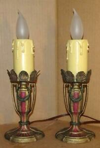 Vintage Art Deco Boudoir Lamps Antique 20 S 30 S Mantel Vanity Table Lamps Pair