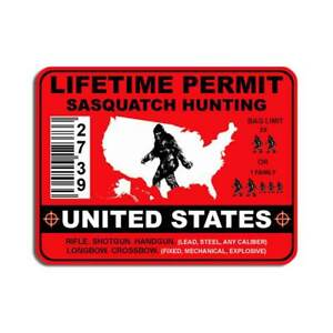 United States Sasquatch Hunting Permit Sticker Bigfoot Yeti Woods Gun Bow Decal