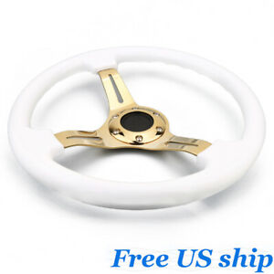 350mm Universal Deep Dish Classic Abs Car Steering Wheel Gold Spoke White 14inch