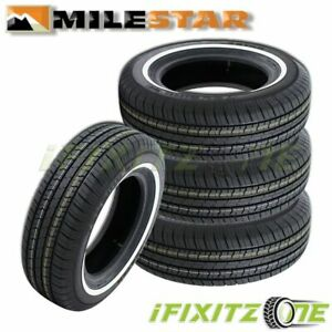 4 Milestar Ms775 Touring P185 75r14 89s Ww White Wall All Season M S Tires
