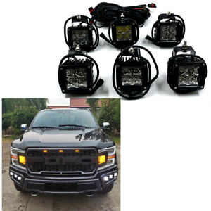 For 18 20 Ford F150 Raptor Style Conversion Steel Front Bumper W 6 Led Fog Lamps