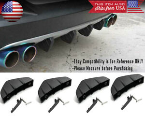 4 Pcs Universal Rear Bumper Valance Extension Diffuser Shark Fin For Ford Chevy