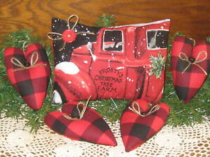 Country Christmas Decor Red Truck Sitter Hearts Bowl Fillers Wreath Accents