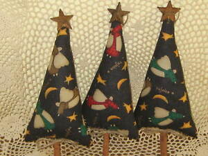 3 Country Christmas Decor Handmade Angel Fabric Trees Bowl Fillers Ornaments