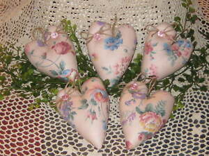 5 Floral Fabric Shabby Hearts Bowl Fillers Country Decor Wreath Swag Accents