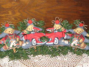 4 Teddy Bear Christmas Tree Ornaments Bowl Fillers Wreath Making Home Decor