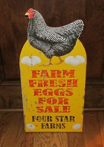 Big Chicken Eggs Sign Primitive Home French Country Farmhouse Urban Farm Decor