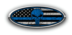 Ford Overlay Punisher Distressed Us Flag Thin Blue Line Overlay Decals 3pc Kit