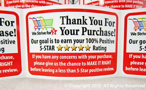 1000 Thank You For Your Purchase Shipping Seller Label Labels Stickers 2x3