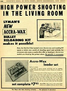 1963 Print Ad of Lyman Accra Wax Bullet Reloading Kit shooting in living room $9.99