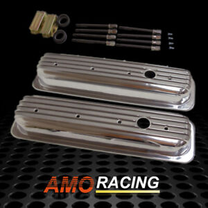 Center Bolt Vortec Aluminum Short Style Valve Covers Fits Sbc Chevy 350