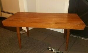 Mid Century Danish Modern 36 Teak Beech Wood Slat Bench End Table Coffee Table