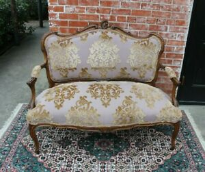 French Walnut Antique Settee Loveseat Bench W New Upholstery