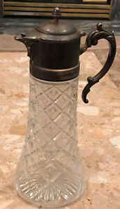 Vtg Cut Crystal Tea Water Carafe With Patina Silver Handle Lid Ice Holder 14