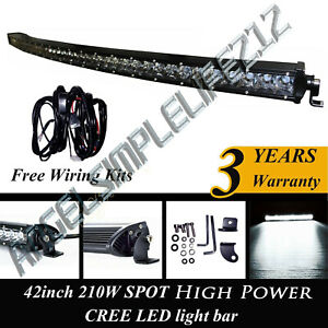 42inch Single Row Led Curved Light Bar Spot Off road Work Light Suv 4wd Truck 44