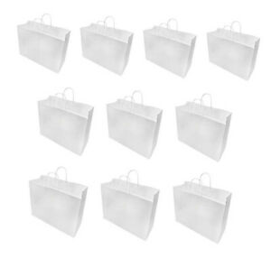 16 X 6 X 12 White Recycled Paper Vogue Shopping Bag 10 Pc