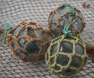 Vintage Japanese Glass Fishing Floats 3 5 Netted Lot Of 3 Free Shipping