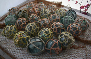 Vintage Japanese Glass Fishing Floats 3 5 Netted Lot Of 25 Free Shipping