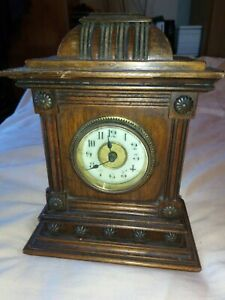 Antique Mantle Clock Wooden Case Porcelain Dial 7 Tall Not Working