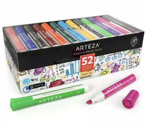 Arteza Dry Erase Markers Bulk Pack Of 52 with Chisel Tip 12 Assorted Colors