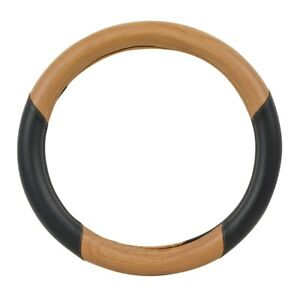 Universal Steering Wheel Cover 18 Inch Matte Natural Light Wood Black New 54061