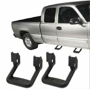 2pcs Universal Fit For Truck Suv Pickup Black Aluminum Side Step Nerf Bars Pair