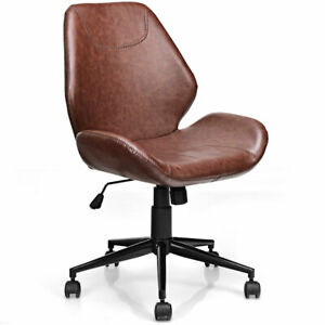 Rolling Office Home Leisure Chair Mid back Upholstered Pu Leather Chair