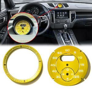 Yellow Dial Clock Gauge Face Chrono For Porsche Cayman 911 Macan Cayenne Boxster